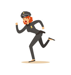 Police women officer running character vector