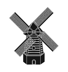 rural wooden mill mill for grinding grain into vector image