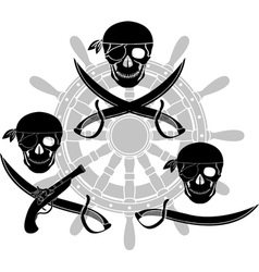set of pirate signs stencils vector image vector image