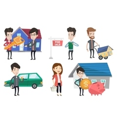 Set of real estate agents and house owners vector