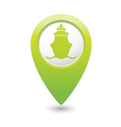 Ship icon green map pointer vector