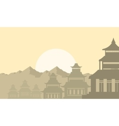 Silhouette of lined pavilion on the morning vector