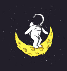 spaceman stands on crescent moon vector image vector image