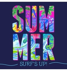 Summer letters watercolor pattern vector image