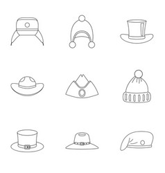 traditional hat icon set outline style vector image vector image