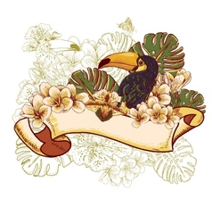 Tropical Exotic Floral Card with Toucan vector image vector image