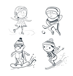 Winter sports sketch sportsmen vector image