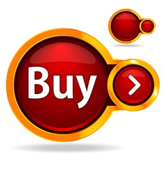 Buy button glossy icon vector