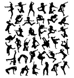 Modern dancer activity and action silhouettes vector
