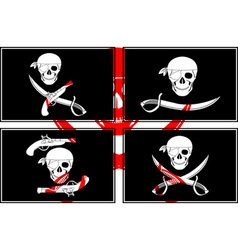 Set of pirates flags stencils vector