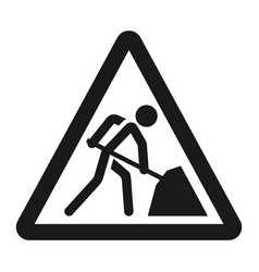 Road works sign line icon vector