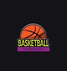 basketball tournament logo template vector image
