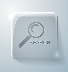 Glass icon with highlights magnifier search vector