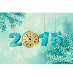 Holiday background with a 2015 made with a clock vector image