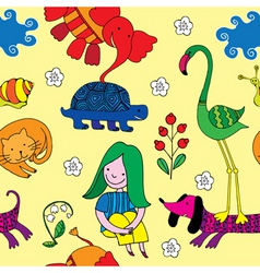 Animals and girl vector