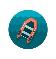 Inflatable boat flat icon vector