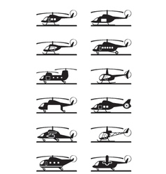 Different types of helicopters vector image