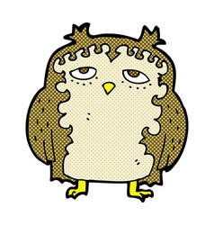 Comic cartoon wise old owl vector