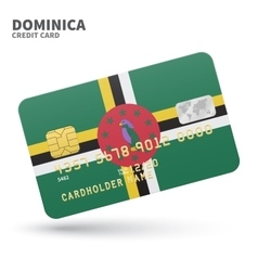 Credit card with dominica flag background for bank vector