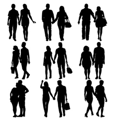Couples man and woman silhouettes on a white vector