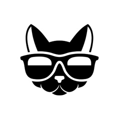 Hipster cat icon on white background vector