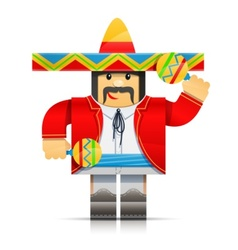 Mexicano man origami toy vector
