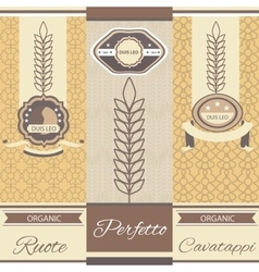 Set linear pasta italian cuisine flyers labels vector