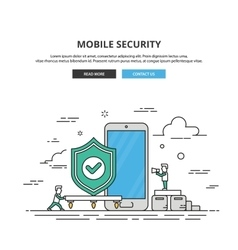 Thin line banner mobile security premium vector