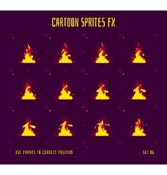 Animation frames or fire sprites vector image vector image