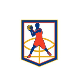 Basketball Player Passing Ball Shield Retro vector image vector image