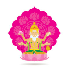 Brahma hindu god or deity vector
