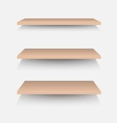 Brown shelves on white wall vector