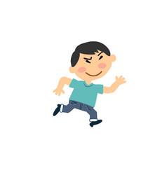 Cartoon character asian boy running vector