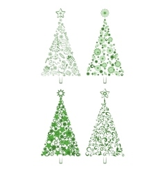 Cartoon christmas holiday trees vector