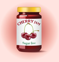 Cherry jam isolated on white vector