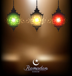 Colorful bright lamp for ramadan festival vector image vector image