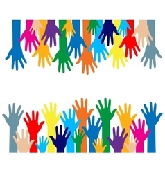 colorful silhouette hands over white background vector image vector image