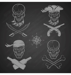 Emblems of skulls on the pirate theme vector image vector image
