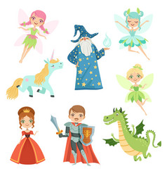 Fairytale characters set in different costumes vector