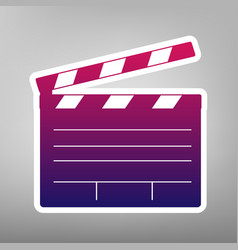 Film clap board cinema sign purple vector