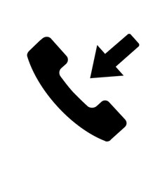 flat black incoming call icon vector image vector image
