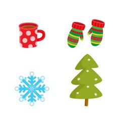 flat winter symbols icon set vector image vector image