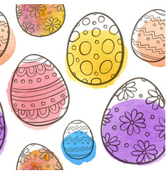 hand drawn easter seamless pattern vector image vector image
