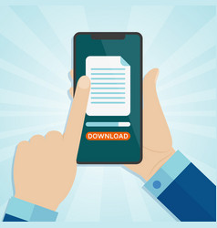 hand holding smartphone with downloading file on a vector image vector image