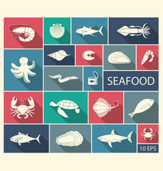 icons of fish and seafood vector image