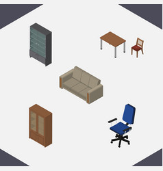 Isometric design set of sideboard cabinet couch vector