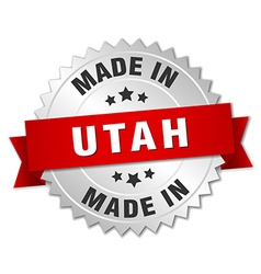 Made in utah silver badge with red ribbon vector