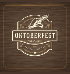 Oktoberfest greeting card or flyer on textured vector