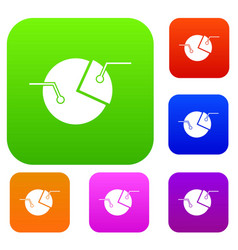 percentage diagram set color collection vector image vector image
