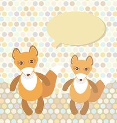 Polka dot background pattern funny cute fox on dot vector